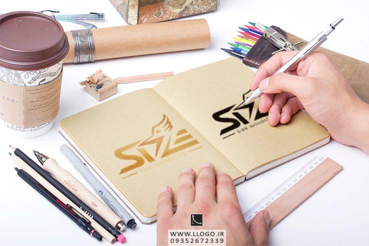 طراحی لوگو صنایع چوبی سایز