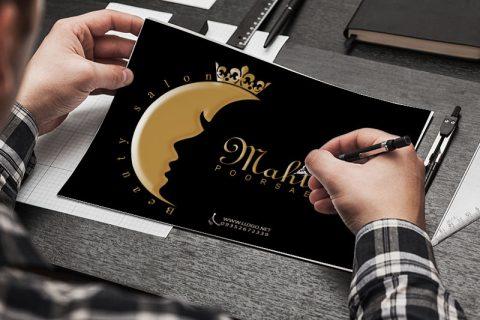 طراحی لوگو آرایشگاه زنانه مهتاب